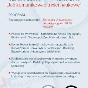 """Seminarium """"Jak komunikować treści naukowe"""" - zapraszamy!"""